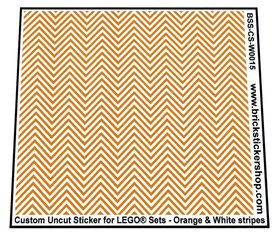 Uncut Vinyl sticker with Orange & White Stripes (version 1) for use with LEGO® sets