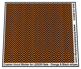 Uncut Vinyl sticker with Orange & Black Stripes (version 1, 1mm) for use with LEGO® sets