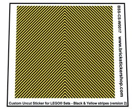Uncut Vinyl sticker with Black & Yellow Stripes (version 2) for use with LEGO® sets