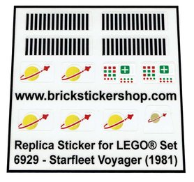Precut Custom Replacement Stickers for Lego Set 6929 - Starfleet Voyager (1981)