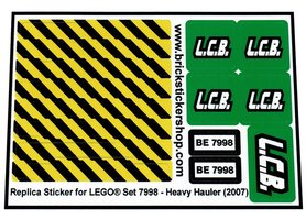 Precut Custom Replacement Stickers for Lego Set 7998 - Heavy Hauler (2007)