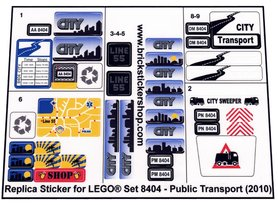 Precut Custom Replacement Stickers for Lego Set 8404 - Public Transport (2010)