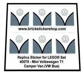 Precut Custom Replacement Stickers for Lego Set 40079 - Mini Volkswagen T1 Camper Bus (VW Bus - Dark Bluish Gray Version)