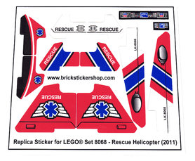 Precut Custom Replacement Stickers for Lego Set 8068 -Rescue Helicopter(2011)