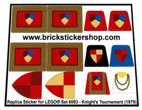 Precut Custom Replacement Stickers for Lego Set 6083 - Knight's Tournament (1979)