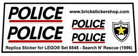 Precut Custom Replacement Stickers for Lego Set 6545 - Search 'n Rescue (1996)