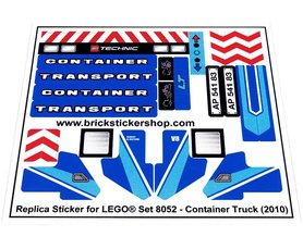Precut Custom Replacement Stickers for Lego Set 8052 - Container Truck (2010)