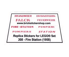 Precut Custom Replacement Stickers for Lego Set 308 - Fire Station (1958)