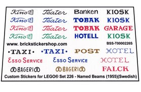 Precut Custom Replacement Stickers for Lego Set 226 - Named Beams (Swedish) (1955)