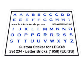 Precut Custom Replacement Stickers for Lego Set 234 - Letter Bricks (EU/GB) (1958)