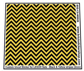 Uncut Vinyl sticker with Black & Yellow Stripes (version 1, 2mm) for use with LEGO® sets