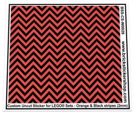 Uncut Vinyl sticker with Orange & Black Stripes (version 1, 2mm) for use with LEGO® sets