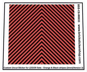 Uncut Vinyl sticker with Orange & Black Stripes (version 2, 2mm) for use with LEGO® sets