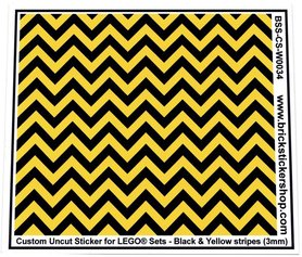 Uncut Vinyl sticker with Black & Yellow Stripes (version 1, 3mm) for use with LEGO® sets