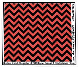 Uncut Vinyl sticker with Orange & Black Stripes (version 1, 3mm) for use with LEGO® sets