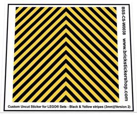 Uncut Vinyl sticker with Black & Yellow Stripes (version 2, 3mm) for use with LEGO® sets