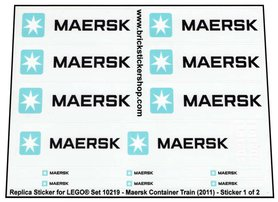 Precut Custom Replacement Stickers for Lego Set 10219 - Maersk Container Train (2011)