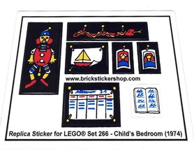 Precut Custom Replacement Stickers for Lego Set 266 - Child's Bedroom (1974)