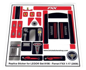 Precut Custom Replacement Stickers for Lego Set 8156 - Ferrari FXX (2008)