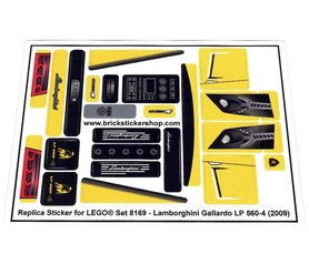 Precut Custom Replacement Stickers for Lego Set 8169 - Lamborghini Gallardo LP 560-4 (2009)