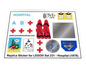Precut Custom Replacement Stickers for Lego Set 231 - Hospital (1978)