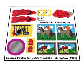Precut Custom Replacement Stickers for Lego Set 232 - Bungalow (1978)