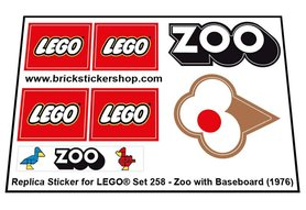 Precut Custom Replacement Stickers for Lego Set 258 - Zoo with Baseboard (1976)