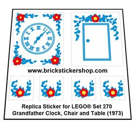 Precut Custom Replacement Stickers for Lego Set 270 - Grandfather Clock, Chair and Table (1973)