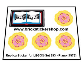 Precut Custom Replacement Stickers for Lego Set 293 - Piano (1973)