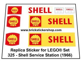 Precut Custom Replacement Stickers for Lego Set 325 - Shell Service Station (1966)