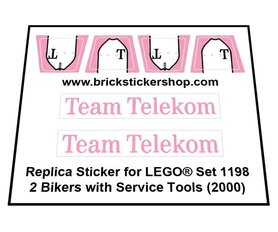 Precut Custom Replacement Stickers for Lego Set 1198 - 2 Bikers with Service Tools (2000)