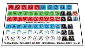 Precut Custom Replacement Stickers for Lego Set 3569 - Grand Soccer Stadium (2006)