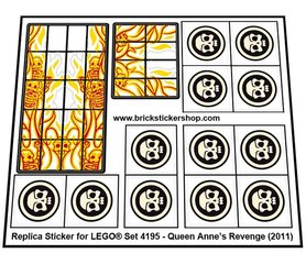 Precut Custom Replacement Stickers for Lego Set 4195 - Queen Anne's Revenge (2011)