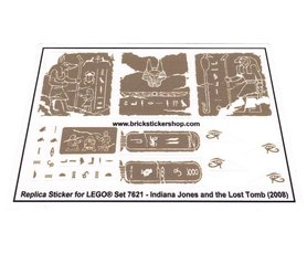 Precut Custom Replacement Stickers for Lego Set 7621 - Indiana Jones and the Lost Tomb (2008)