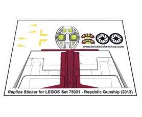 Precut Custom Replacement Stickers for Lego Set 75021 - Republic Gunship (2013)