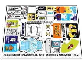 Precut Custom Replacement Stickers for Lego Set 71016 - The Kwik-E-Mart (2015)
