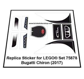 Precut Custom Replacement Stickers for Lego Set 75878 - Bugatti Chiron (2015)
