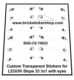 Custom Transparent Stickers for LEGO® Slope 33 3x1 with Eyes