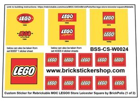 Precut Custom Replacement Stickers for LEGO Store Leicester Square Rebrickable MOC-54534