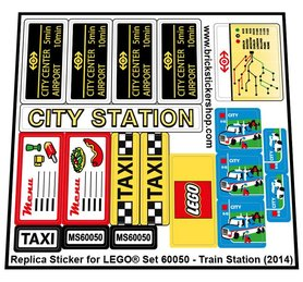 Precut Custom Replacement Stickers for Lego Set 60050 - Train Station (2014)