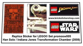 Precut Custom Replacement Stickers for Lego Set promosW005 - Han Solo Indiana Jones Transformation Chamber (2008)