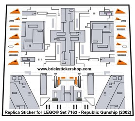 Precut Custom Replacement Stickers for Lego Set 7163 - Republic Gunship (2002)