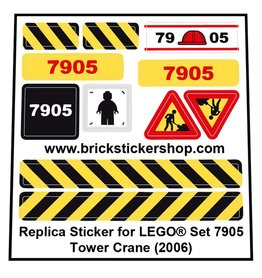 Precut Custom Replacement Stickers for Lego Set 7905 - Tower Crane (2006)