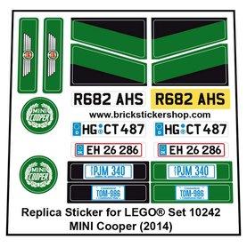Precut Custom Replacement Stickers for Lego Set 10242 - Mini Cooper (Green Version) (2014)