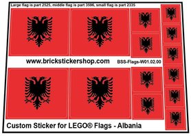 Precut Custom Stickers for LEGO Flags - Flag of Albania