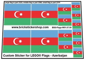 Precut Custom Stickers for LEGO Flags - Flag of Azerbaijan