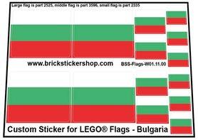 Precut Custom Stickers for LEGO Flags - Flag of Bulgaria