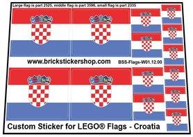 Precut Custom Stickers for LEGO Flags - Flag of Croatia