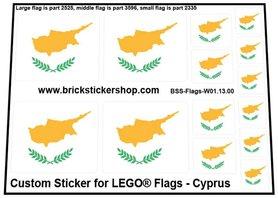 Precut Custom Stickers for LEGO Flags - Flag of Cyprus