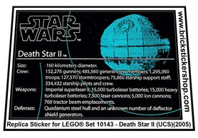 Precut Custom Replacement Stickers for Lego Set 10143 - Death Star II (2005)